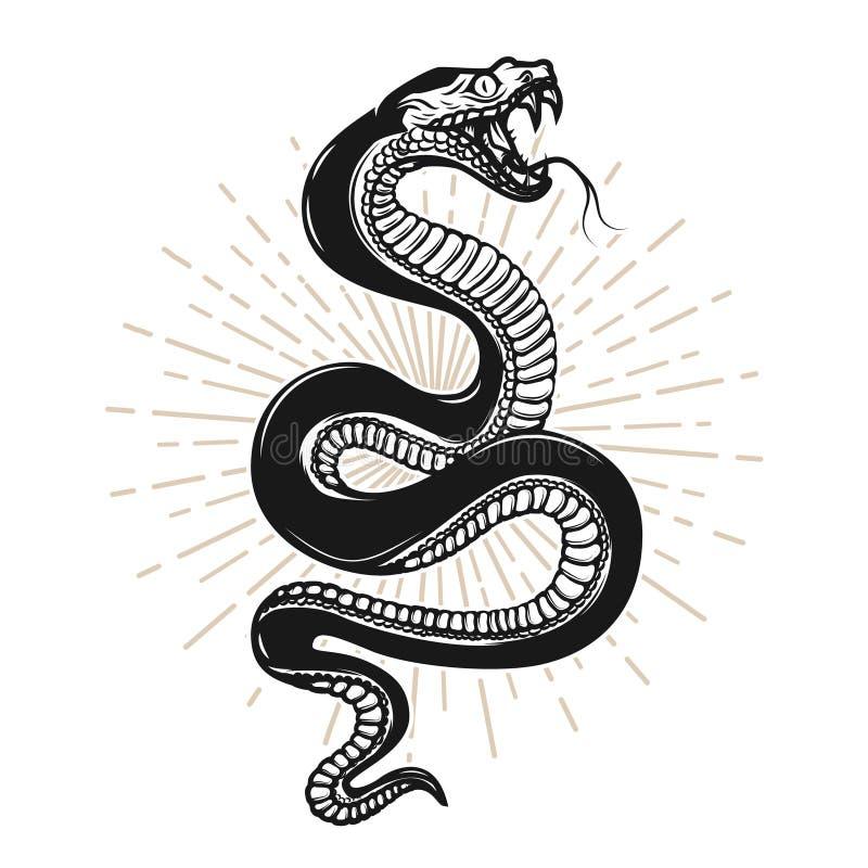 Ilustração da serpente no fundo branco Projete o elemento para o cartaz, camisa de t, emblema, sinal ilustração royalty free