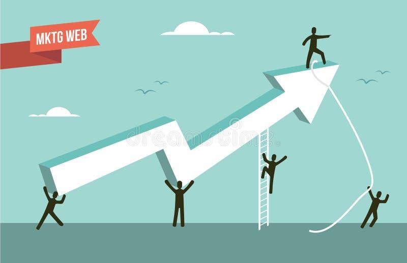 Ilustração da seta da carta da estratégia da Web do mercado