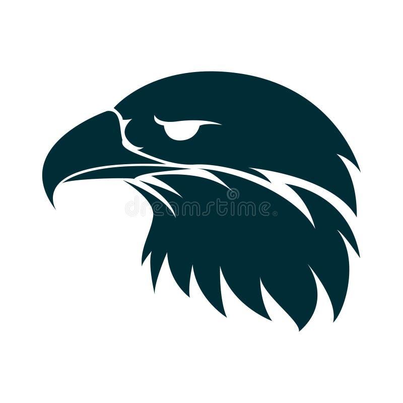 Ilustração da silhueta da cabeça de Eagle Projeto do logotipo da cabe?a de Eagle Projeto minimalista do ícone de Eagle ilustração stock
