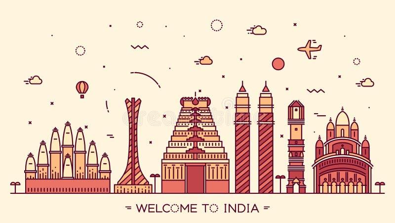 Ilustração da silhueta da Índia da skyline linear ilustração do vetor