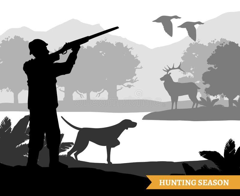 Ilustração da silhueta da caça ilustração do vetor