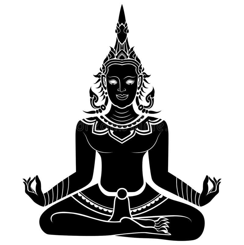 Ilustração da silhueta de meditar do anjo imagens de stock royalty free
