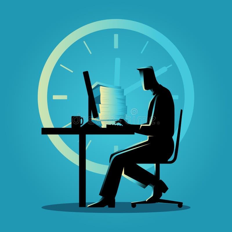 Ilustração da silhueta de um homem que trabalha fora do tempo estipulado ilustração stock