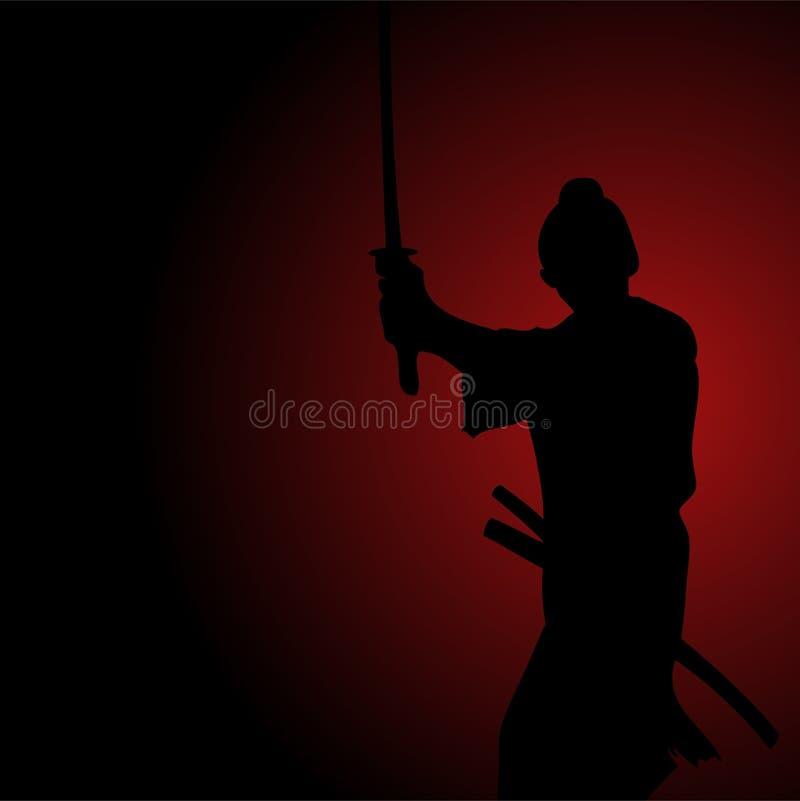 Ilustração da silhueta de um samurai ilustração stock