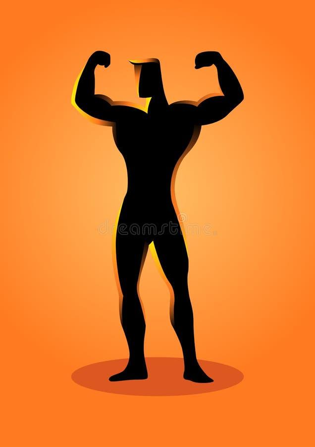 Ilustração da silhueta de uma pose do halterofilista ilustração royalty free