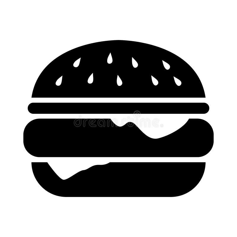 Ilustração da silhueta do hamburguer/ícone simples, lisos, pretos Isolado no branco ilustração royalty free