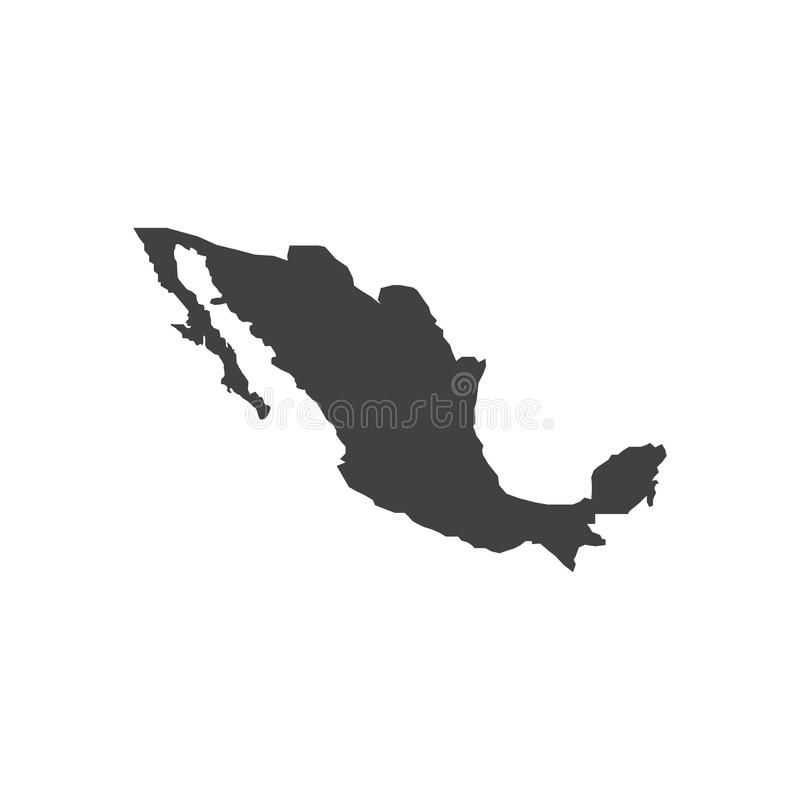 Ilustração da silhueta do mapa de México ilustração stock