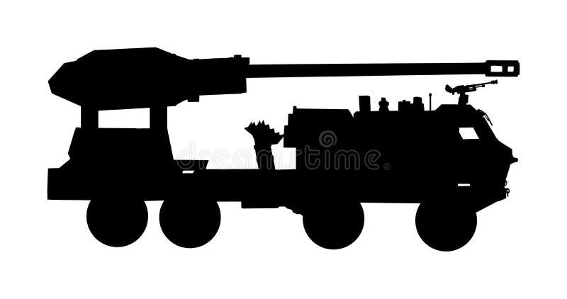 Ilustração da silhueta do vetor do caminhão do lançador da artilharia dos obus Portador de Rocket do míssil com canhão Teste da b fotografia de stock royalty free