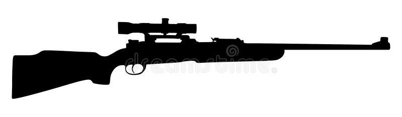 Ilustração da silhueta do vetor do rifle de atirador furtivo isolada imagens de stock