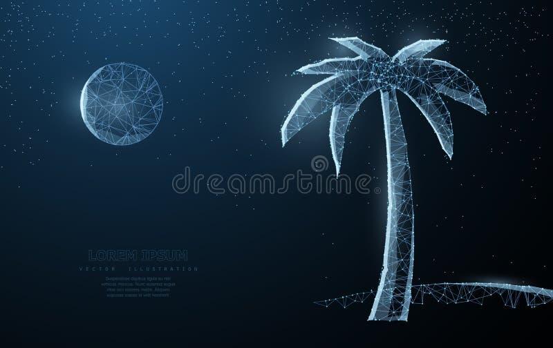 Ilustração da silhueta da praia do verão da natureza da palma do POY do fio abstrato baixa na obscuridade - fundo azul com estrel ilustração stock
