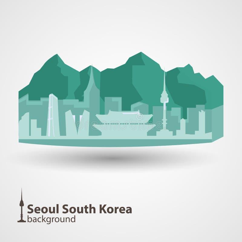 Ilustração da skyline de Seoul, Coreia do Sul ilustração royalty free