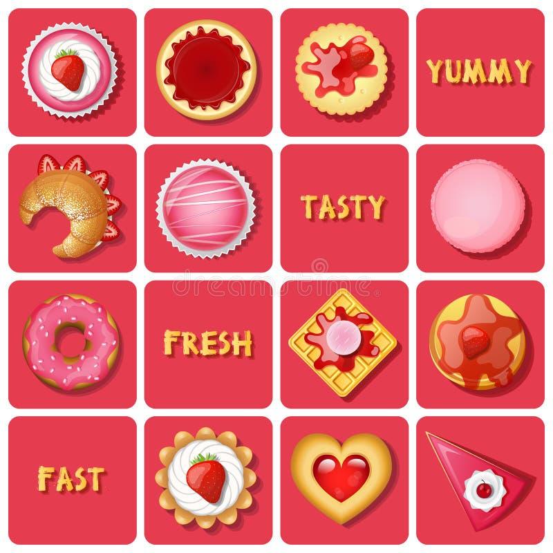 Ilustração da sobremesa e do produtos de forno ilustração royalty free