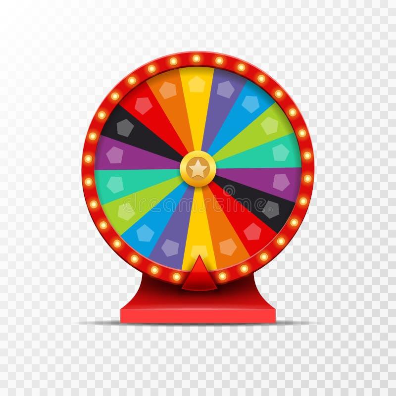 Ilustração da sorte da loteria da roda da fortuna Jogo de azar do casino Roleta da fortuna da vitória Lazer da possibilidade do j ilustração royalty free