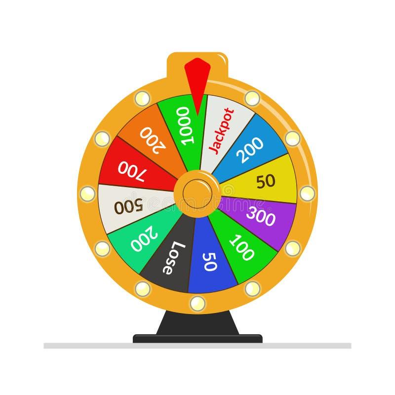 Ilustração da sorte da loteria da roda da fortuna Jogo de azar do casino Roleta da fortuna da vitória Ilustração lisa do vetor ilustração royalty free