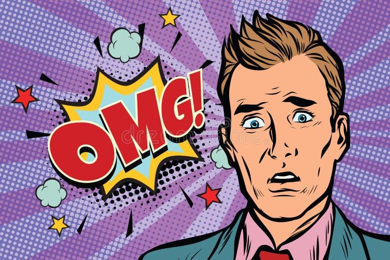 Ilustração da surpresa do homem do pop art de Omg ilustração do vetor