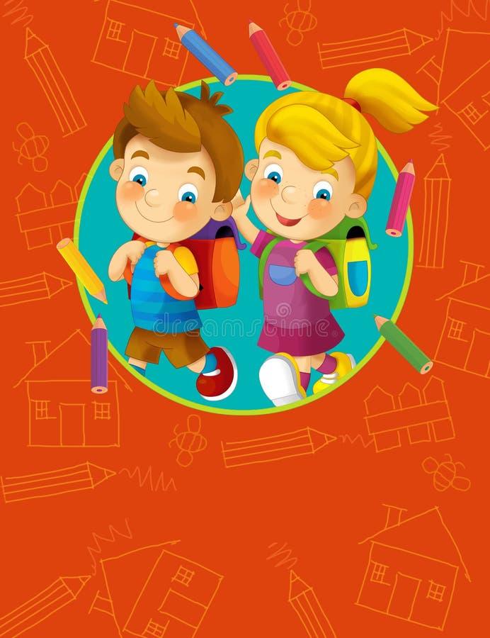 Ilustração da tampa - boa para a tampa ou o diploma - ilustração para as crianças ilustração stock