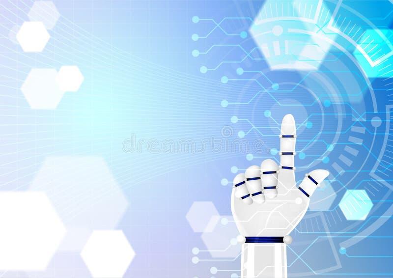 Ilustração da tecnologia, mão do robô que empurra o circl abstrato branco ilustração royalty free