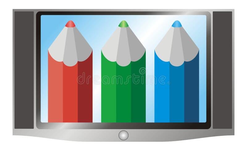 Ilustração da televisão (aparelho de televisão) e do vermelho, verde ilustração royalty free