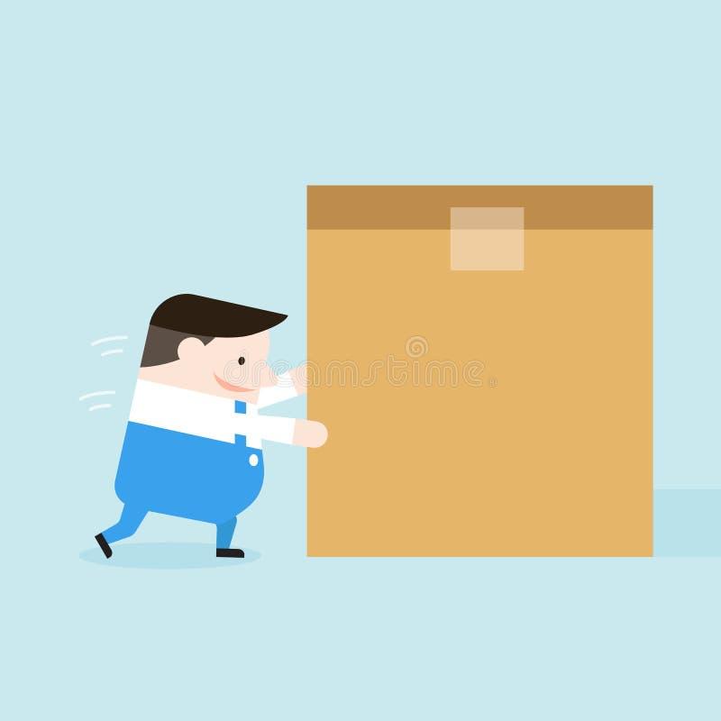 Ilustração da tentativa do homem de entrega para empurrar a caixa ilustração do vetor