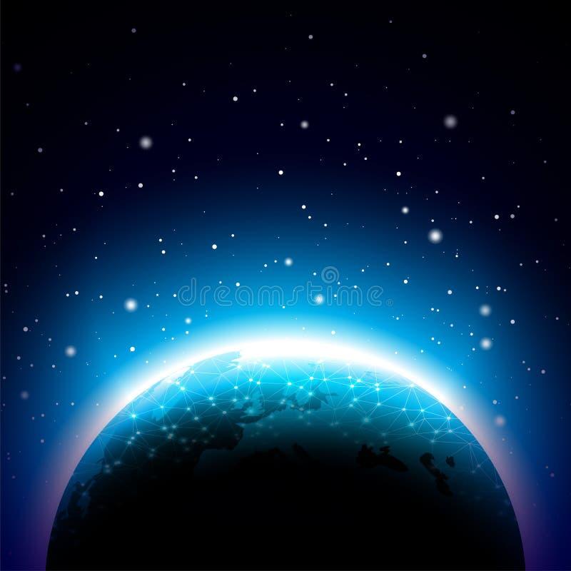 Ilustração da terra com planeta azul Conceito do fundo do mapa do mundo ou do globo Vector o projeto para a bandeira, o cartaz ou ilustração royalty free
