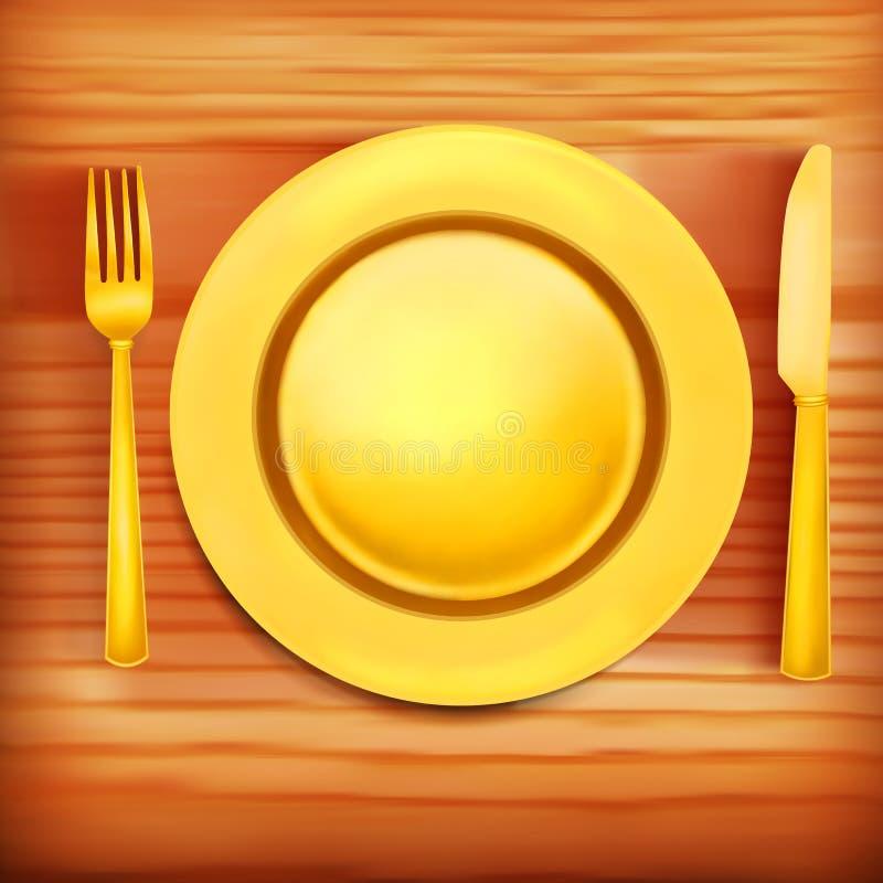 Ilustração da textura de madeira dourada da placa, da forquilha e da faca Molde do menu ilustração stock