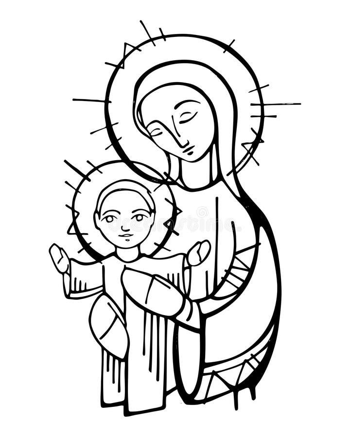 Ilustração da tinta de Jesus Christ da Virgem Maria e do bebê ilustração do vetor
