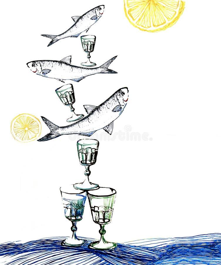 Ilustração da tinta indiana do petisco dos arenques ilustração stock