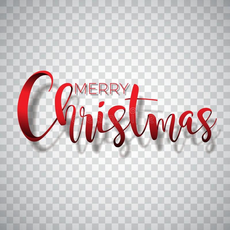 Ilustração da tipografia do Feliz Natal em um fundo transparente Vector o logotipo, emblemas, projeto do texto para cumprimentar ilustração royalty free
