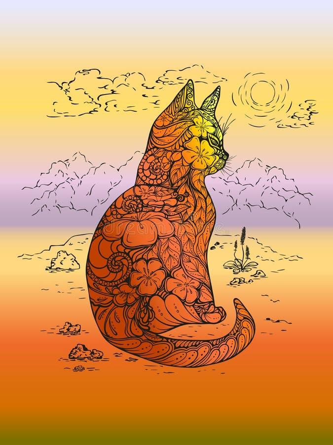 A ilustração da tiragem do contorno de um gato, desenho artístico de um gato decorou com as flores frescas no fundo de uma montan ilustração royalty free