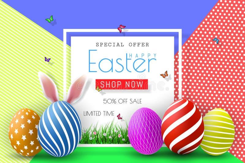 Ilustração da venda da Páscoa com o ovo e elemento pintados cor da tipografia no fundo abstrato Molde do projeto do feriado do ve ilustração stock