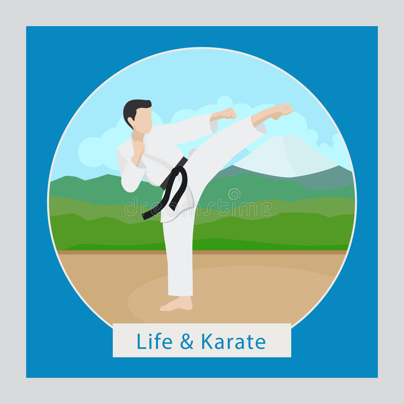 Ilustração da vida e do karaté ilustração do vetor