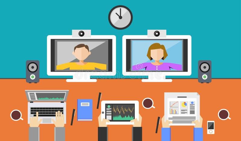 Ilustração da videoconferência Chamada video ilustração do vetor