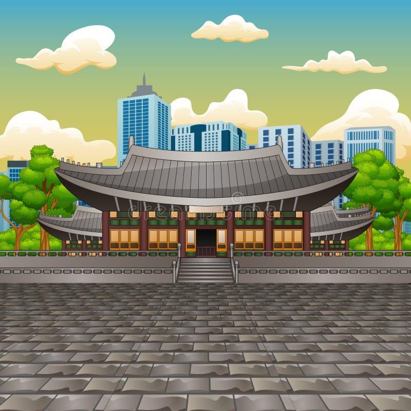 Ilustração da vista o palácio de Deoksugung com fundo da construção alta ilustração do vetor