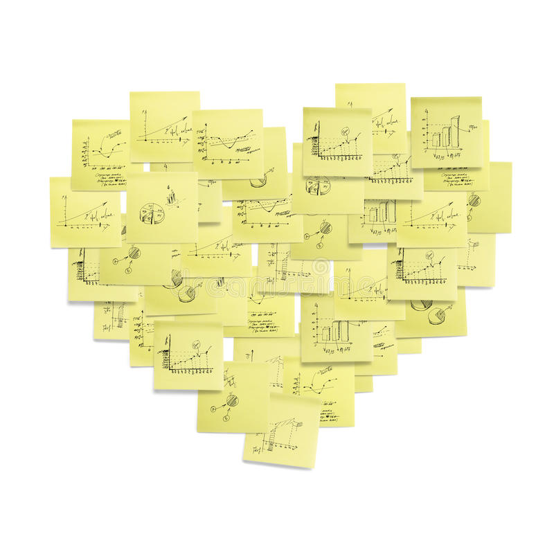 Ilustração dada forma coração do conceito do símbolo do post-it. ilustração stock