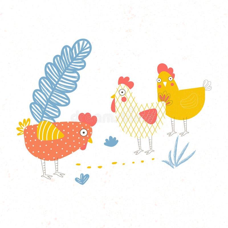 Ilustração das aves domésticas três Galinha na explora??o agr?cola ilustração do vetor
