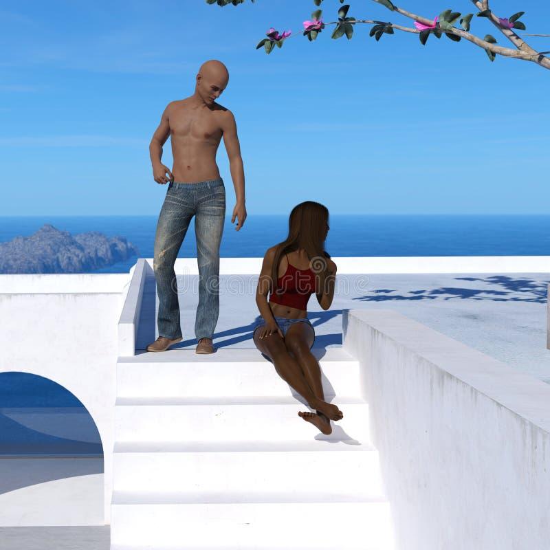 Ilustração das calças vestindo de um homem chested desencapado calvo que estão em uma plataforma que olha para baixo em uma mulhe ilustração royalty free