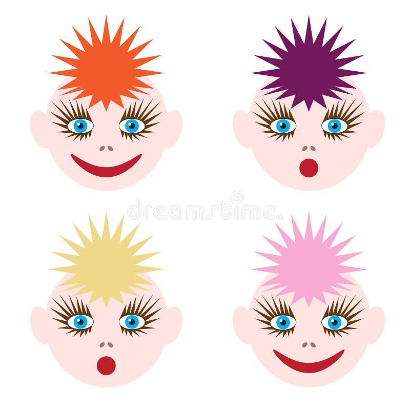 Ilustração das caras engraçadas A imagem do cabelo colorido de cores diferentes e de emoções diferentes ilustração do vetor