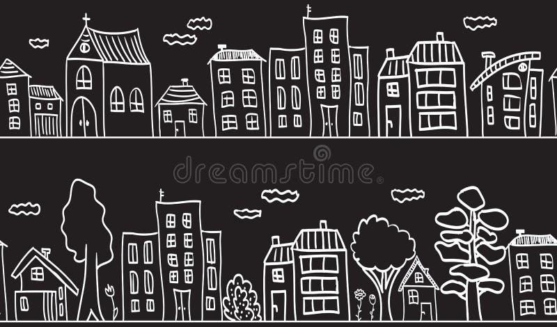 Ilustração das casas e dos edifícios - sem emenda ilustração royalty free