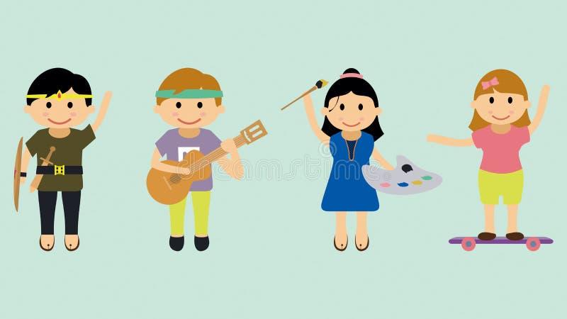Ilustração das crianças com vários passatempos e atividades ilustração royalty free