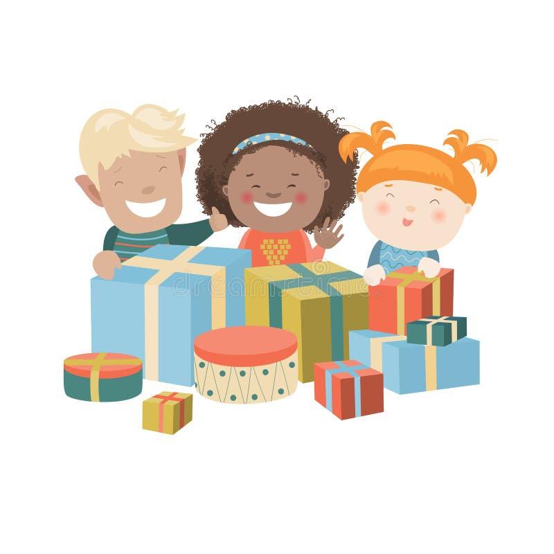 Ilustração das crianças que abrem presentes do Natal ilustração stock