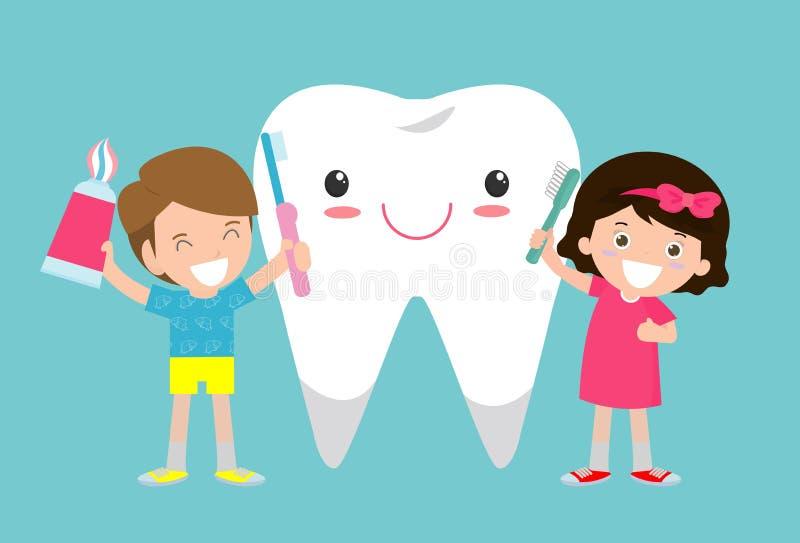 A ilustração das crianças que escovam um dente, crianças pequenas toma de e limpa um grande, dente sorrindo Personagens de banda  ilustração do vetor