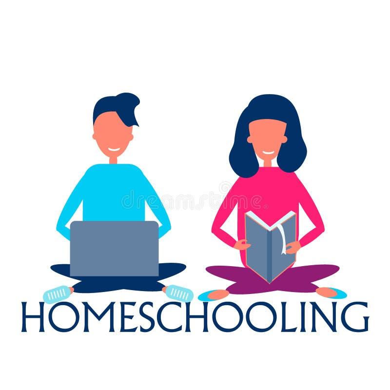 Ilustração das crianças que estudam com o uso do portátil, do caderno, do lápis e do livro, conceito homeschooling ilustração stock