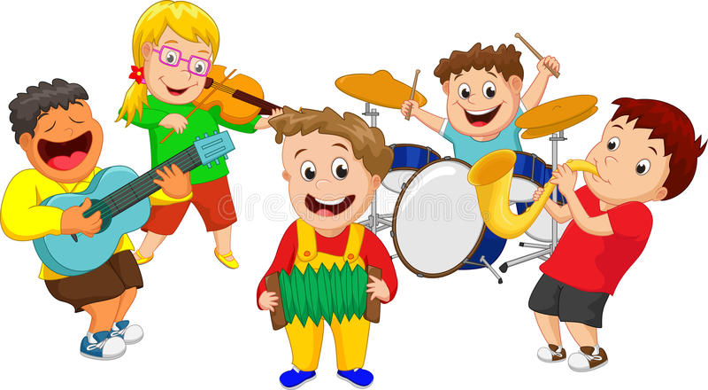 Ilustração das crianças que jogam o instrumento de música foto de stock