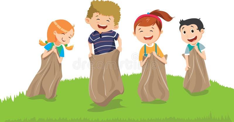 Ilustração das crianças que têm o divertimento com sacos em um prado ilustração do vetor