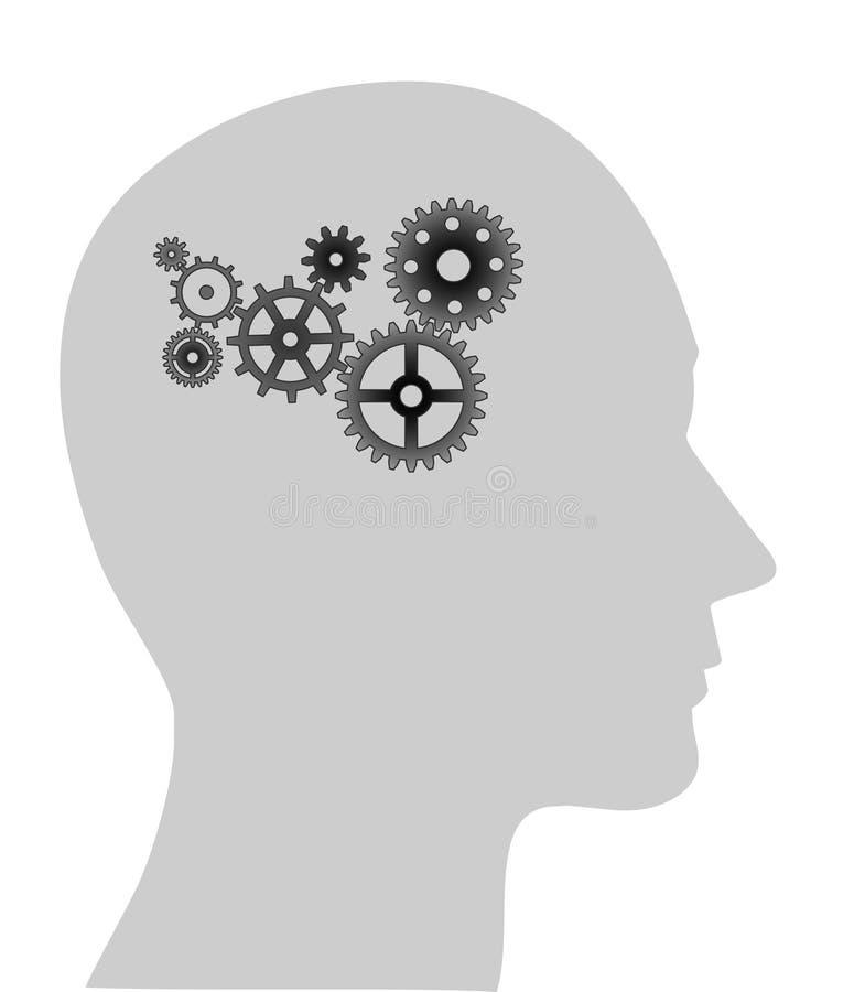 Ilustração das engrenagens na cabeça humana ilustração do vetor