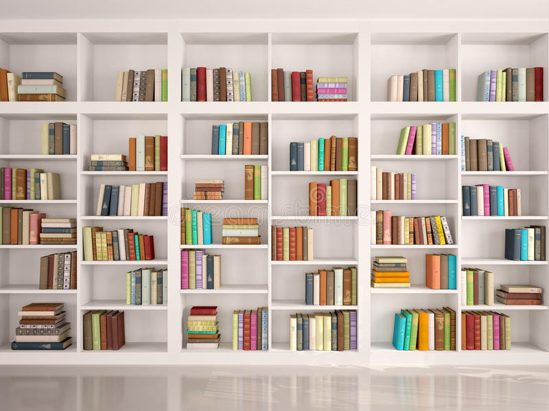 ilustração das estantes brancas com os vários livros coloridos ilustração stock