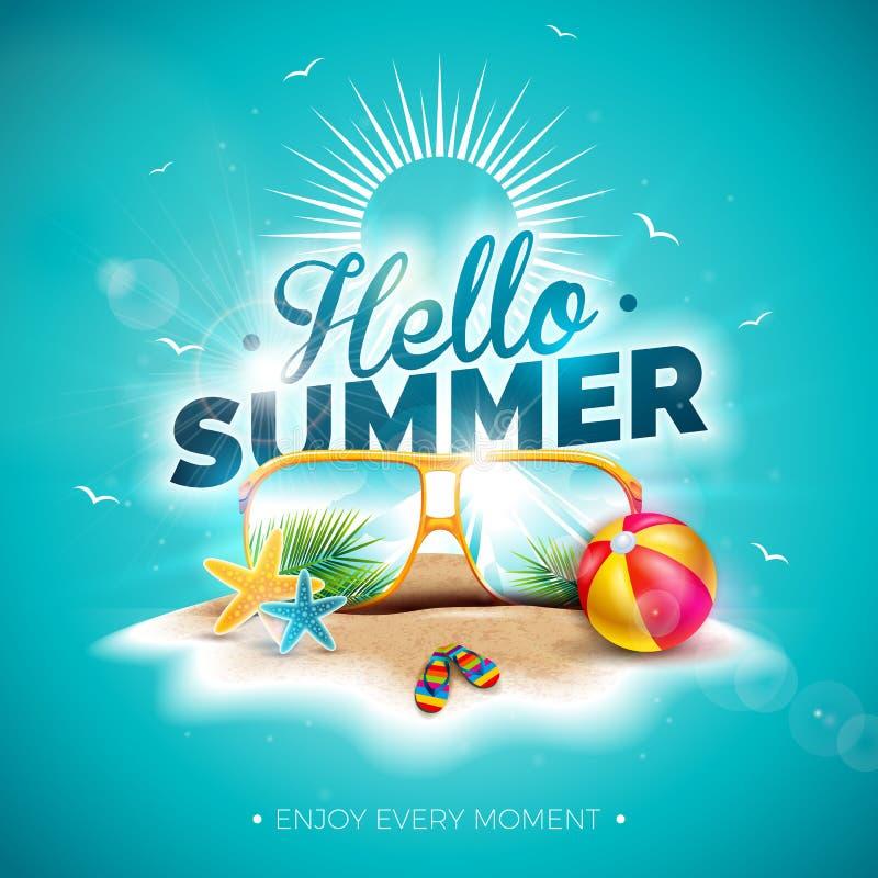 Ilustração das férias de verão do vetor olá! com letra da tipografia e óculos de sol no fundo do azul de oceano Plantas tropicais ilustração royalty free