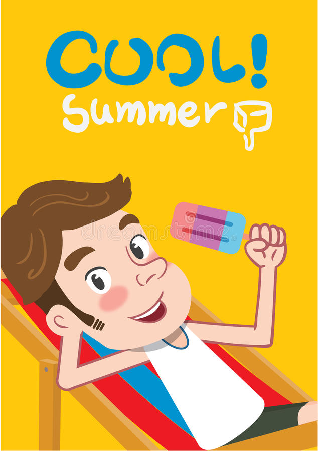 Ilustração das férias de verão, homem liso da juventude do projeto e conceito do gelado ilustração stock
