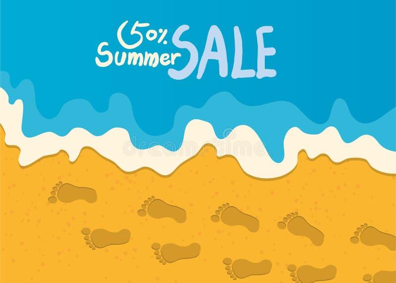 Ilustração das férias de verão, praia lisa do projeto e conceito do mercado do verão ilustração royalty free