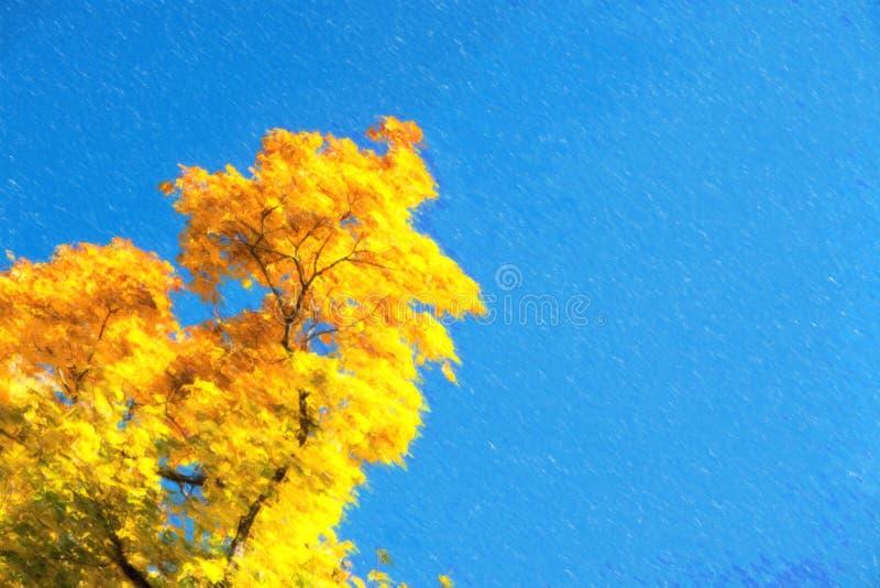 Ilustração das folhas de outono com o fundo do céu azul fotografia de stock